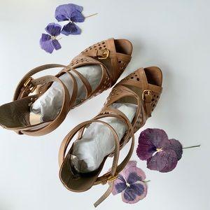 Prada Strappy Platform Sandal in Camel, sz 41